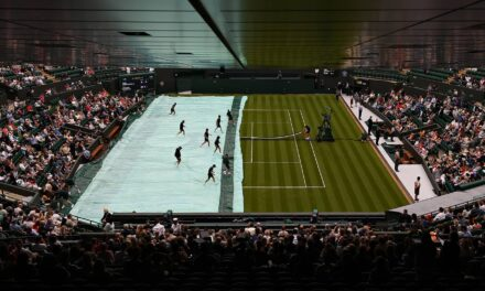 Play Resumes On Outside Courts After Rain At Wimbledon